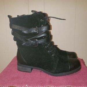 Black Laced Strapped Zippered Combat Boots